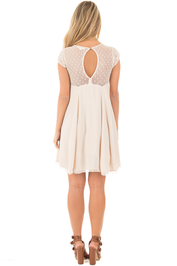 Mocha Swing Dress with Sheer Detailed Sweetheart Neckline back full body