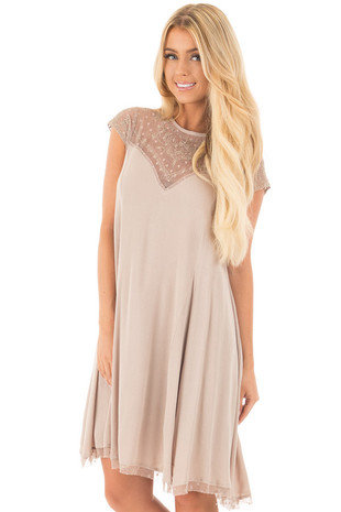 Mocha Swing Dress with Sheer Detailed Sweetheart Neckline front close up