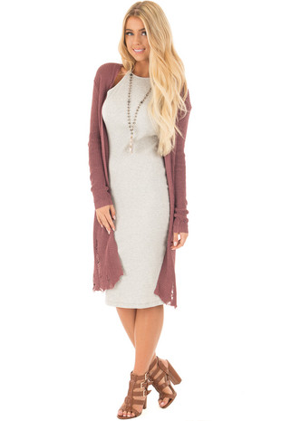 Red Bean Knit Long Sleeve Cardigan with Distressed Details front full body