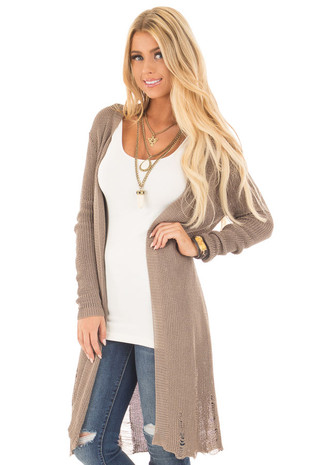 Olive Knit Long Sleeve Cardigan with Distressed Details front closeup
