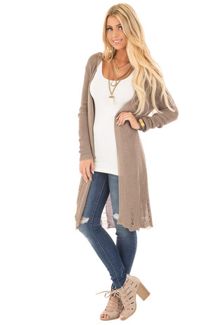 Olive Knit Long Sleeve Cardigan with Distressed Details front full body