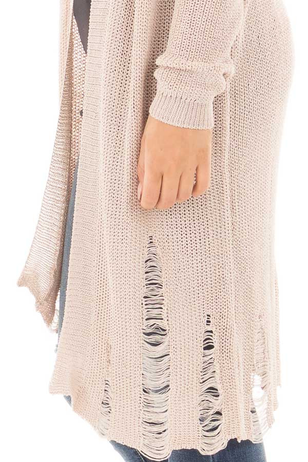 Beige Knit Long Sleeve Cardigan with Distressed Details detail