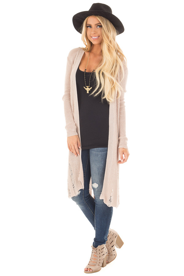 Beige Knit Long Sleeve Cardigan with Distressed Details front full body
