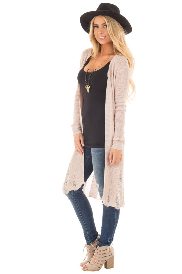 Beige Knit Long Sleeve Cardigan with Distressed Details side full body