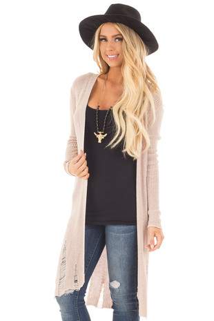 Beige Knit Long Sleeve Cardigan with Distressed Details front close up
