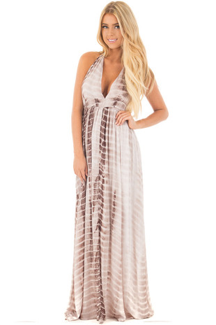Mocha Tie Dye Halter Top Maxi Dress with Plunge Neckline front full body