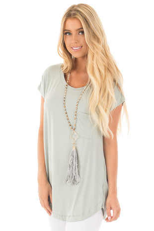 Dusty Blue Sage Short Sleeve Tee with Twisted Open Back front close up