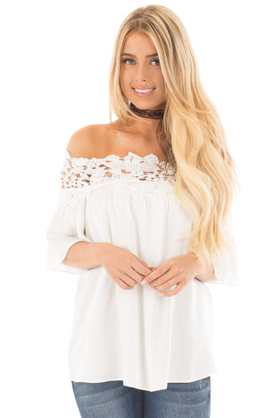 Ivory Off the Shoulder Blouse with Sheer Lace Detail front close up