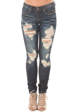 Dark Wash Denim Shredded Design Skinny Jeans front view