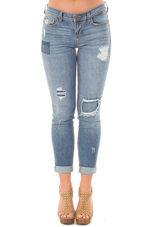 Medium Wash Skinny Distressed Jeans front view
