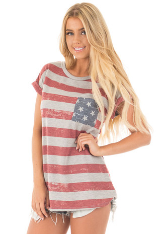 Faded American Flag Vintage Top with Star Pocket front close up