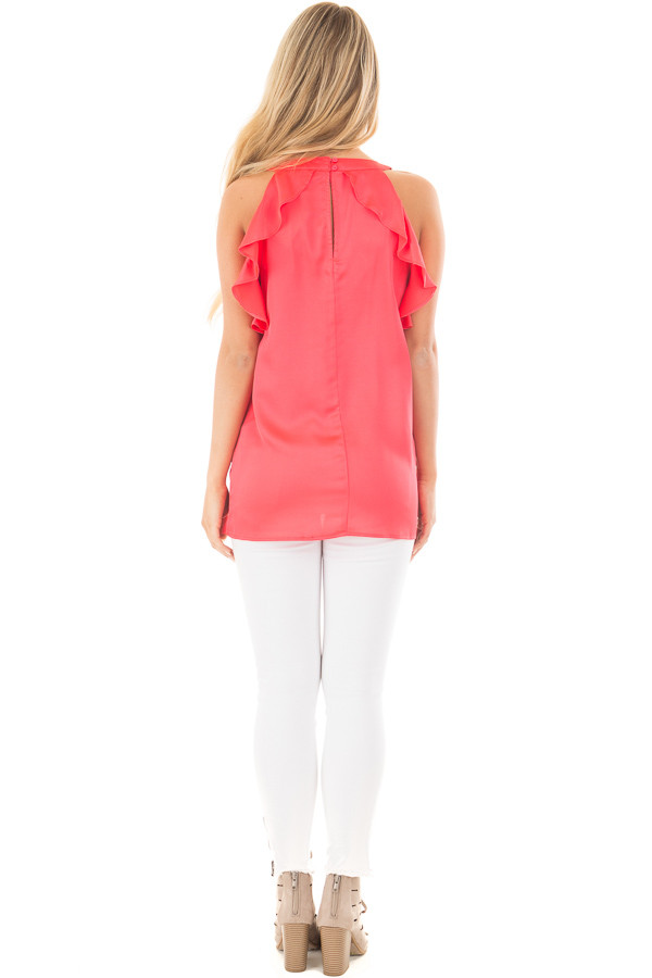 Coral Red Tank Top with Key Hole and Ruffle Details back full body
