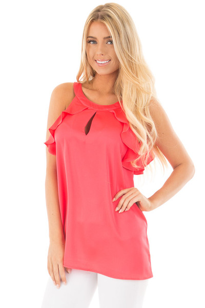 Coral Red Tank Top with Key Hole and Ruffle Details front close up