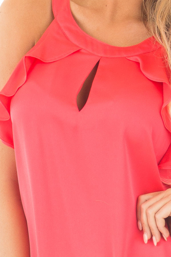Coral Red Tank Top with Key Hole and Ruffle Details detail