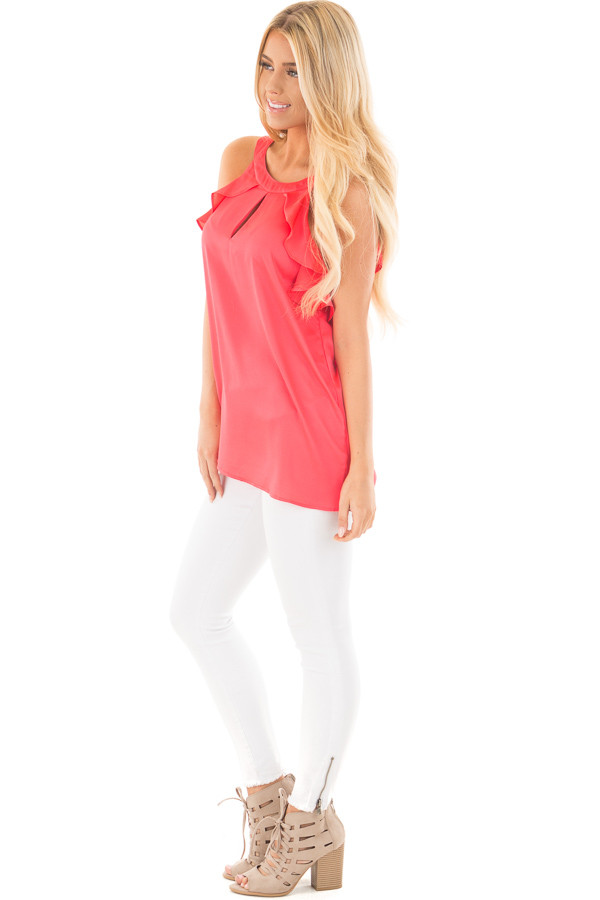 Coral Red Tank Top with Key Hole and Ruffle Details side full body