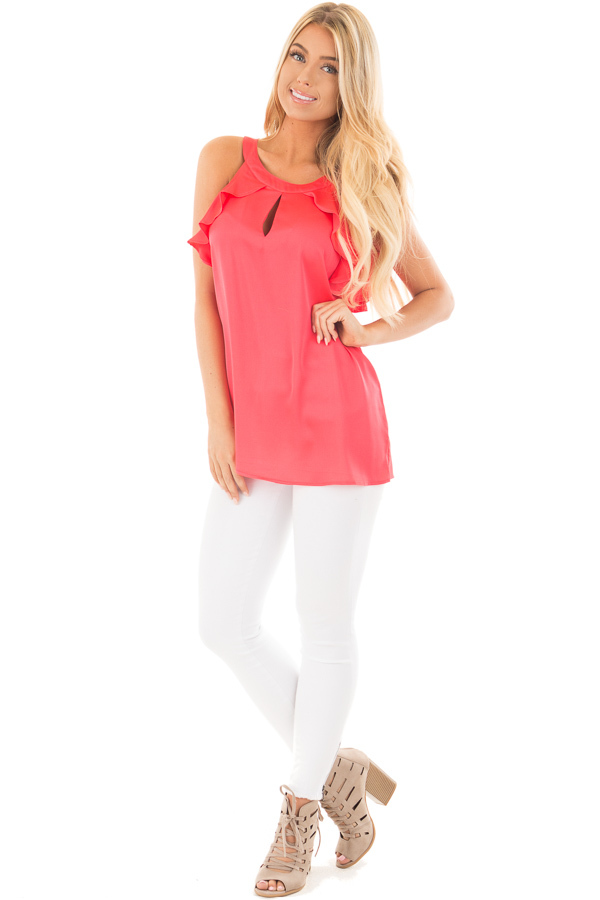 Coral Red Tank Top with Key Hole and Ruffle Details front full body