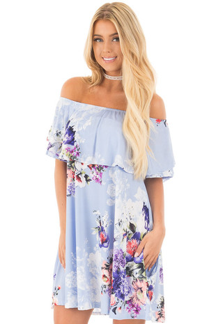 Sky Blue Floral Slinky Off the Shoulder Dress with Pockets front close up