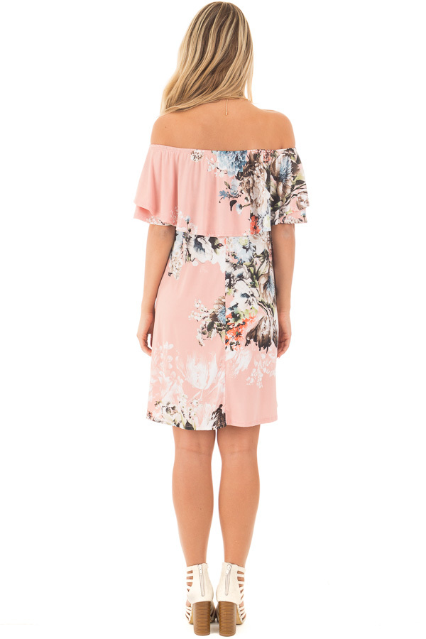 Blush Floral Slinky Off the Shoulder Dress with Pockets back full body