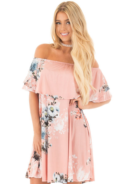 Blush Floral Slinky Off the Shoulder Dress with Pockets front full body