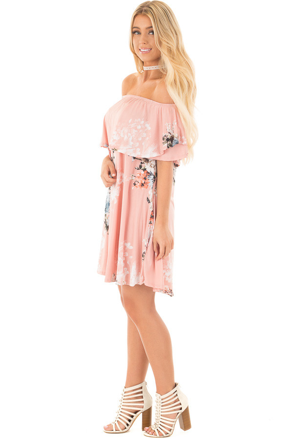 Blush Floral Slinky Off the Shoulder Dress with Pockets side full body