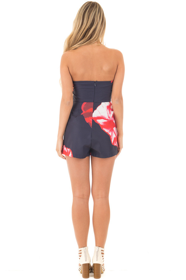 Navy and Lipstick Red Floral Print Strapless Romper back full body