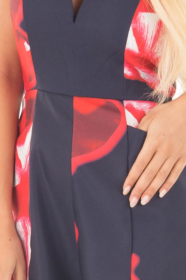 Navy and Lipstick Red Floral Print Strapless Romper detail