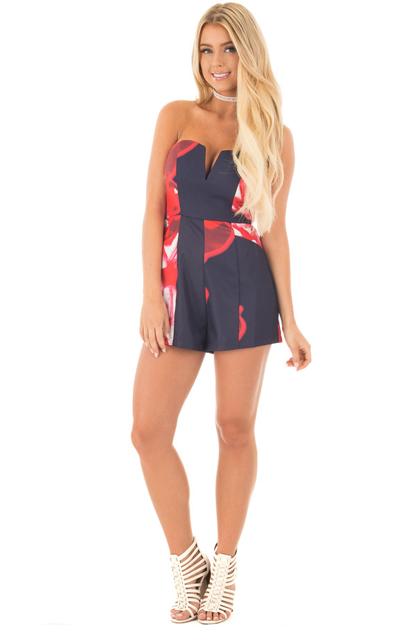 Navy and Lipstick Red Floral Print Strapless Romper front full body