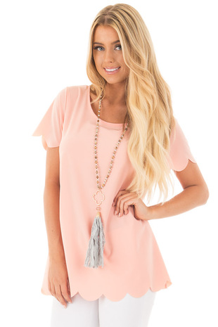Peach Chiffon Short Sleeve Blouse with Scalloped Edges front close up