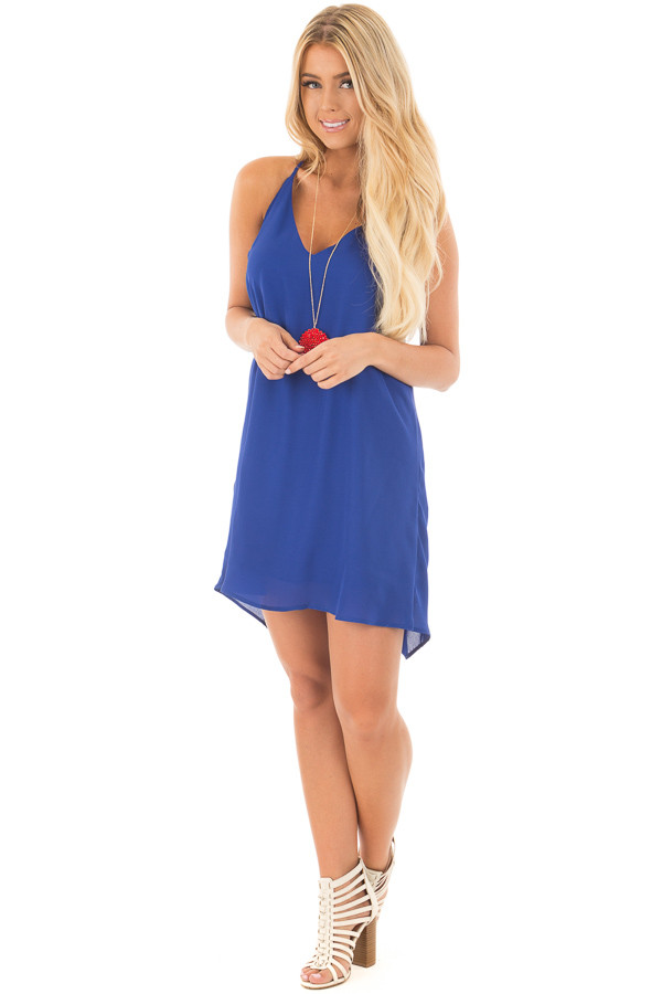 Royal Blue Chiffon Dress with Y Strap Draped Back back front full body