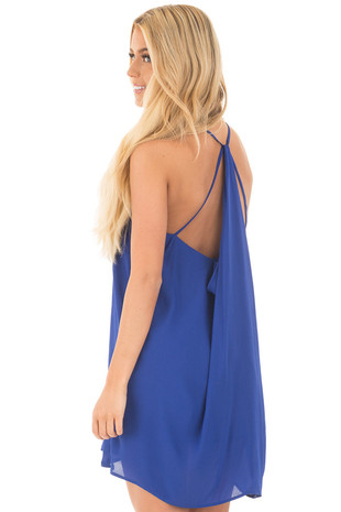 Royal Blue Chiffon Dress with Y Strap Draped Back back side close up