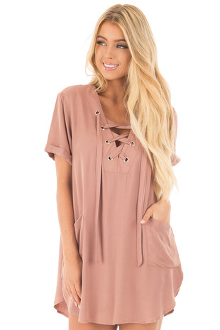 Dusty Rose Lace Up V Neck Tunic Dress with Front Pockets front close up