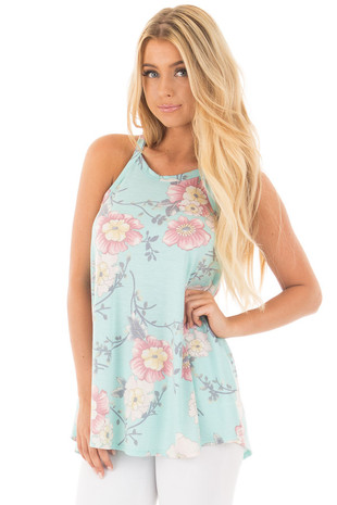 Light Aqua and Blush Floral Print Tank Top front close up