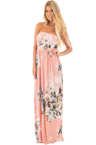 Dusty Pink Floral Print Strapless Maxi Dress front full body