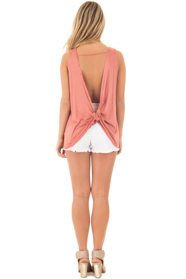 Dusty Coral Scoop Neck Tank with Twisted Open Back back full body