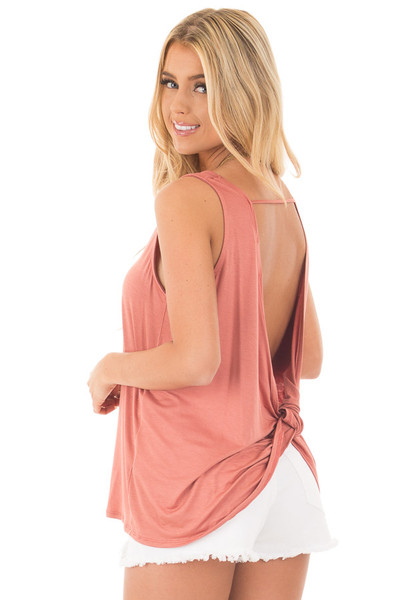 Dusty Coral Scoop Neck Tank with Twisted Open Back back side close up