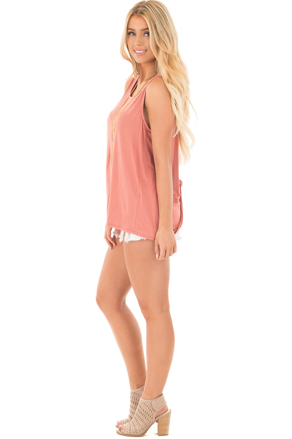 Dusty Coral Scoop Neck Tank with Twisted Open Back side full body