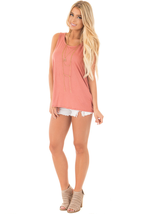 Dusty Coral Scoop Neck Tank with Twisted Open Back front full body