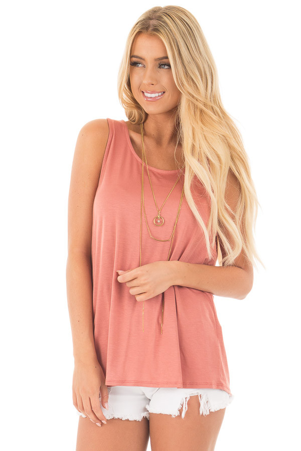 Dusty Coral Scoop Neck Tank with Twisted Open Back front close up
