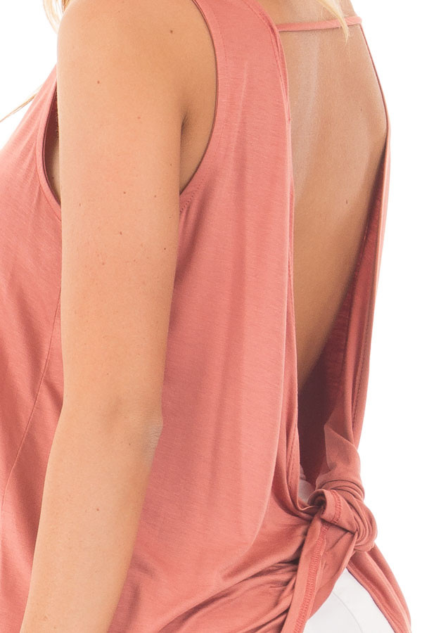 Dusty Coral Scoop Neck Tank with Twisted Open Back detail