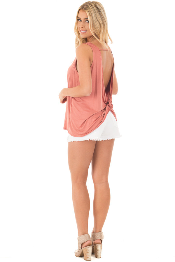 Dusty Coral Scoop Neck Tank with Twisted Open Back back side full body