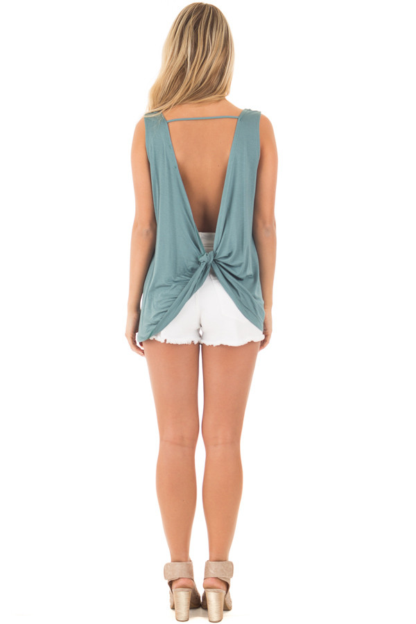 Blue Sage Scoop Neck Tank with Twisted Open Back back full body