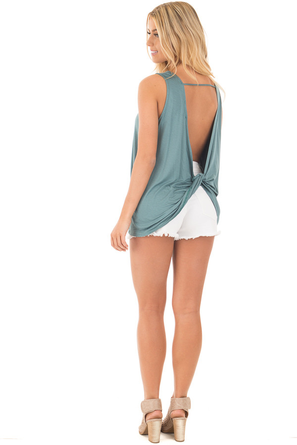 Blue Sage Scoop Neck Tank with Twisted Open Back back side full body