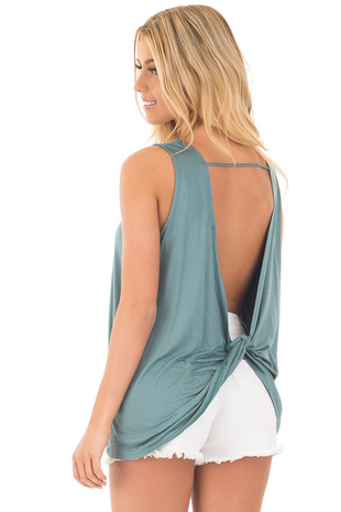 Blue Sage Scoop Neck Tank with Twisted Open Back back side close up