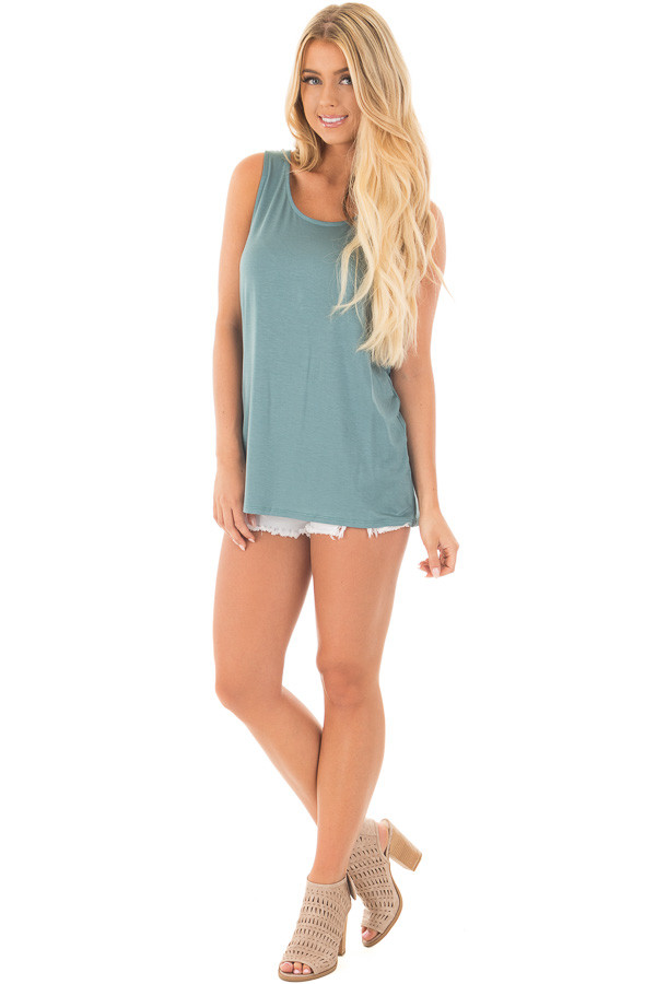 Blue Sage Scoop Neck Tank with Twisted Open Back front full body