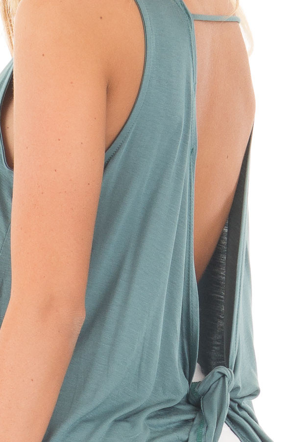 Blue Sage Scoop Neck Tank with Twisted Open Back detail
