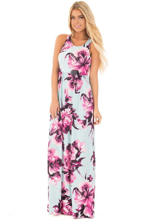 Mint Racerback Maxi Dress with Fuchsia Floral Print front full body