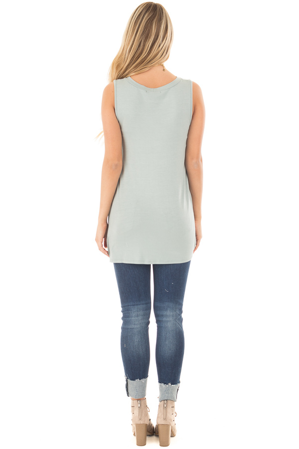 Dusty Sage Loose Fit Tank with Twisted Front Detail back full body