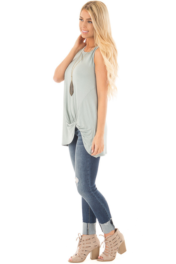 Dusty Sage Loose Fit Tank with Twisted Front Detail side full body