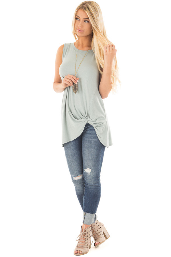 Dusty Sage Loose Fit Tank with Twisted Front Detail front full body