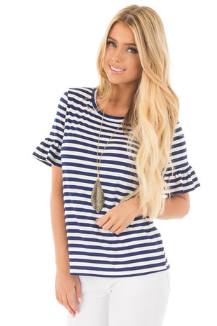 Navy and White Striped Tee with Butterfly Half Sleeves front close up